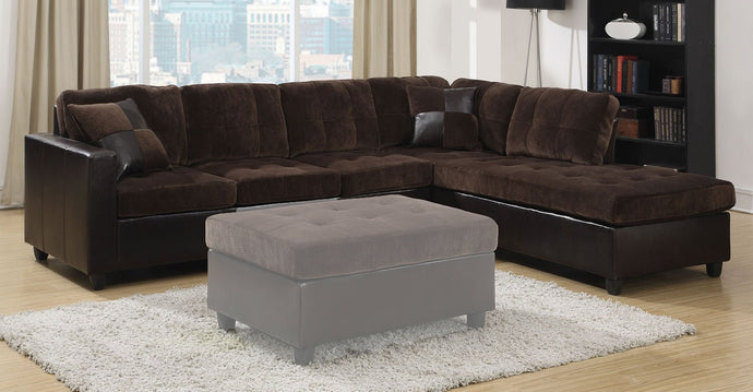 Mallory Chocolate Reversible Finish Sectional Sofa