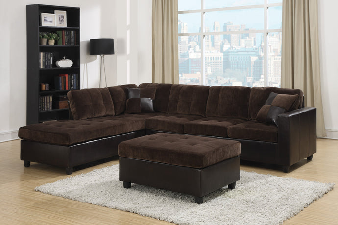 Mallory Chocolate Reversible Sectional Sofa With Ottoman