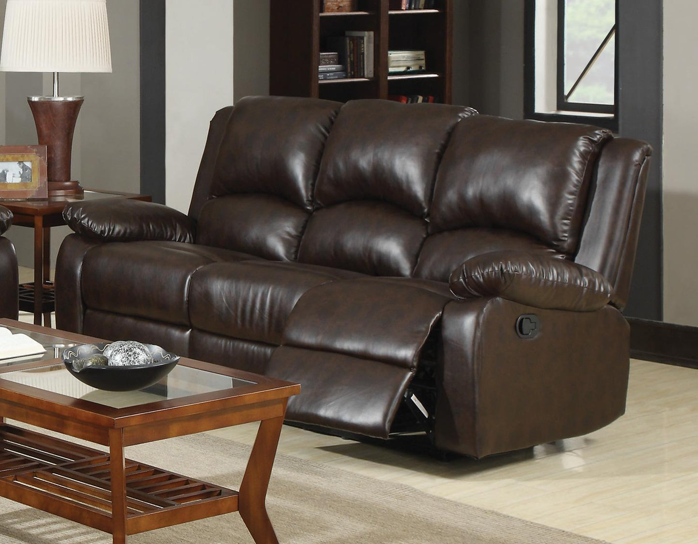 Boston Brown Casual Three Seat Reclining Sofa