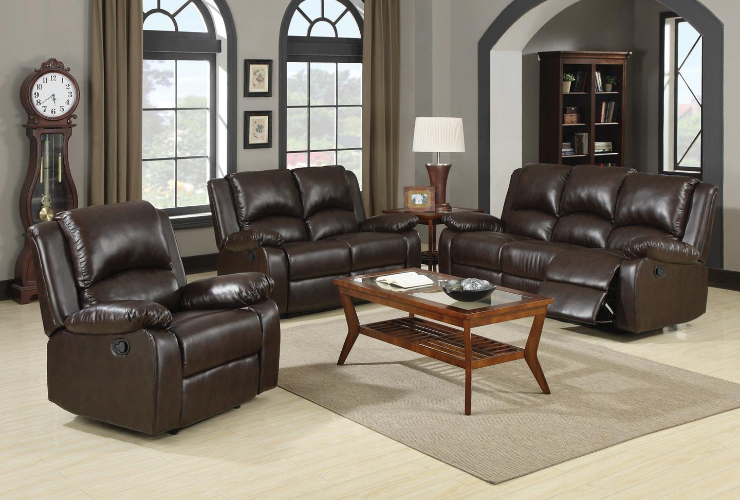 Coaster 3 Piece Boston Brown Casual Sofa Set