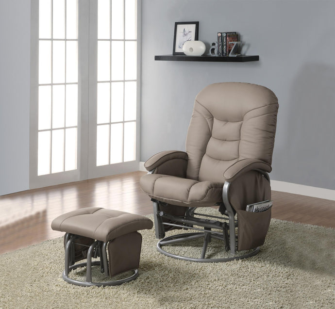 Beige Plush Padded Back Glider Chair with Ottoman