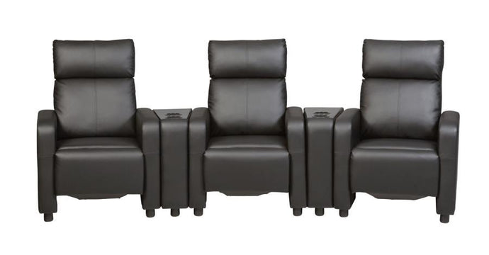 Toohey Home Theater Black Push Back Recliner Chair Set