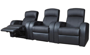 Coaster Cyrus Home Theater 3 Piece  Black Seating Recliner Chair Set