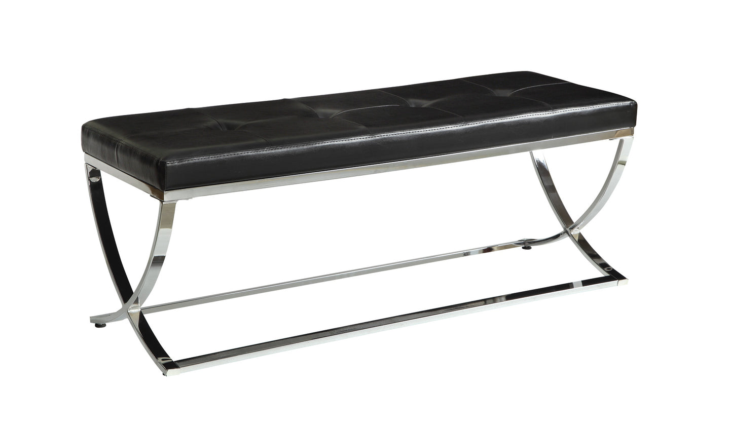 Coaster Contemporary Style Black Leatherette Bench