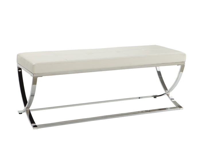Coaster Contemporary Style White Leatherette Bench