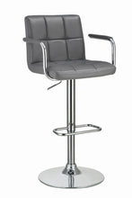 Load image into Gallery viewer, Coaster Adjustable Grey Vinyl Chrome Base Bar Stool