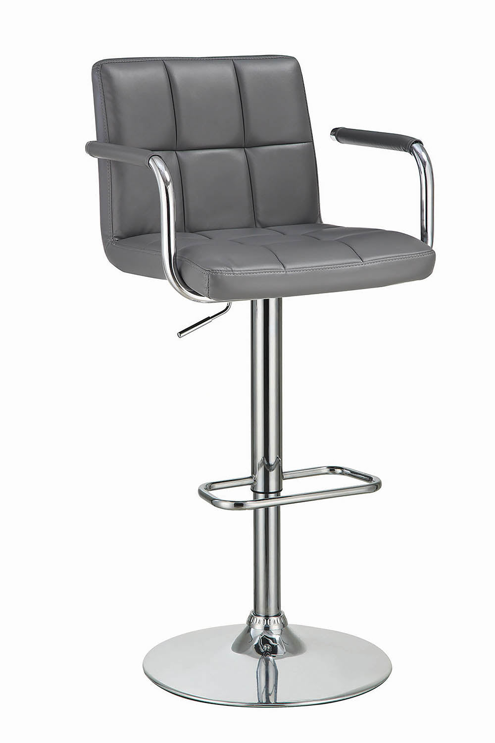 Coaster Adjustable Grey Vinyl Chrome Base Bar Stool