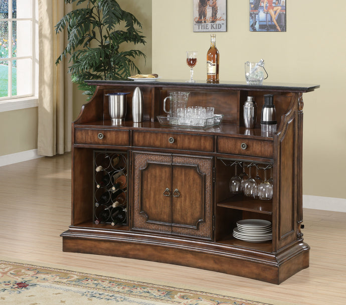 Coaster Clarendon Traditional Marble Top Bar Unit in Brown