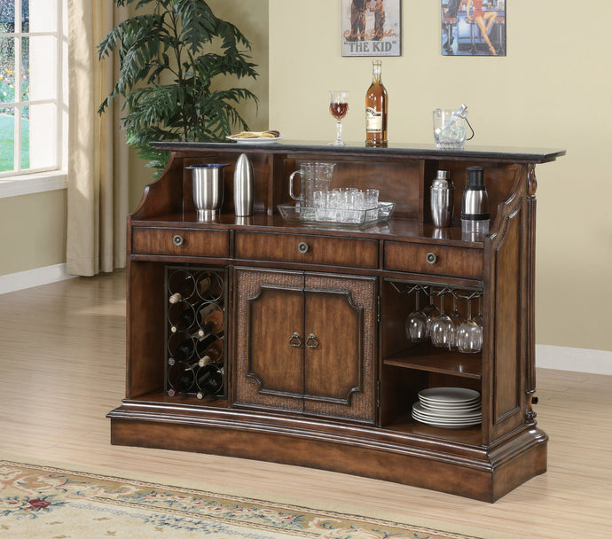 Clarendon Traditional Marble Top Bar Unit in Brown