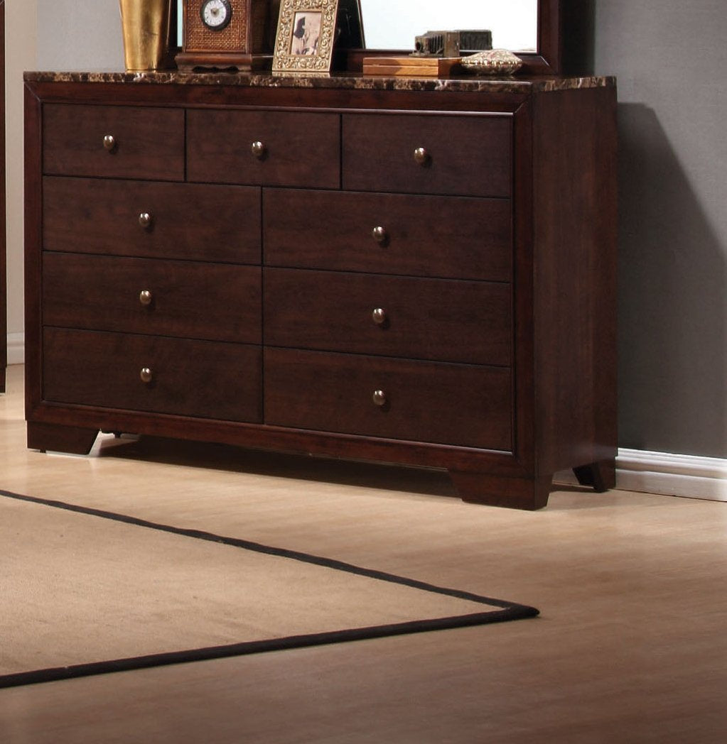Conner Dark Walnut Drawers Dresser with Faux Marble Top