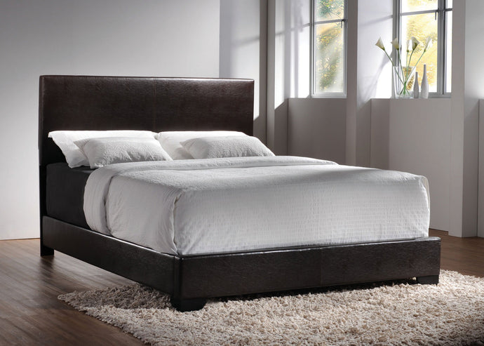 Conner Brown Faux Leather Eastern King Bed with Low Profile