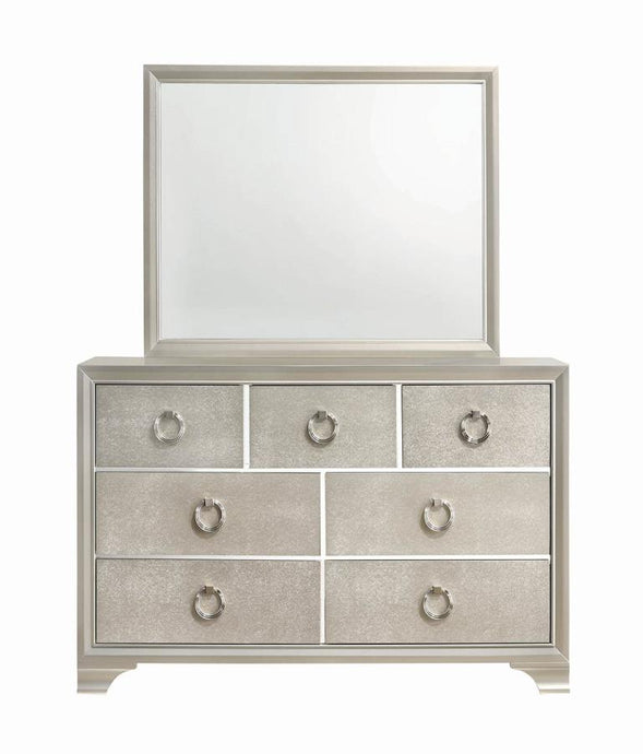 Coaster Salford 7 Drawer Metallic Sterling Dresser Mirror Set