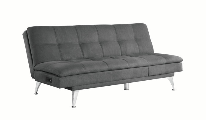 Coaster Royer Gray Fabric And Chrome Finish Sofa Bed