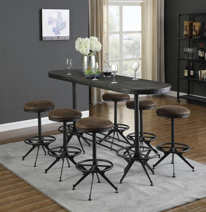 Coaster Black Metal And Wood Finish Oval Finish 7 Piece Bar Table Set