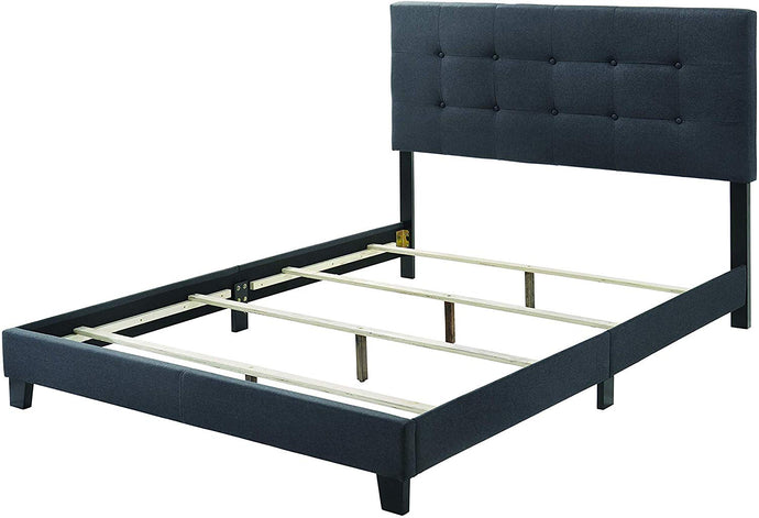 Homy Living Mapes Charcoal Wood And Fabric Finish Queen Bed