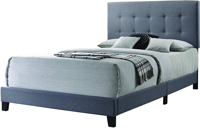 Homy Living Mapes Gray Wood And Fabric Finish Queen Bed