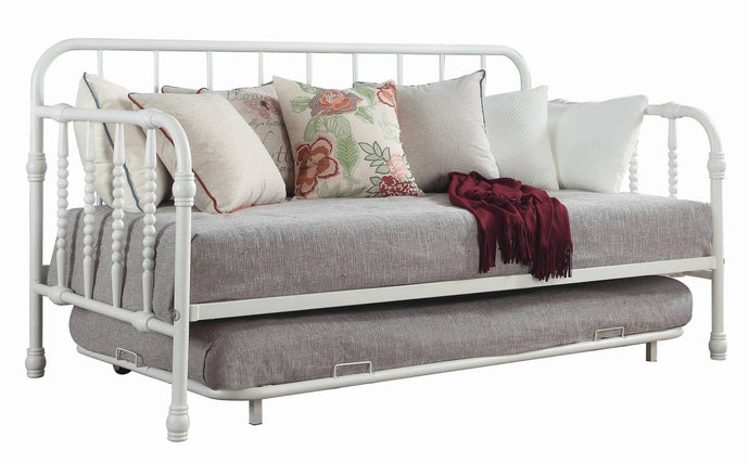 Homy Living Marina White Metal Finish Twin Trundle Bed With Trundle