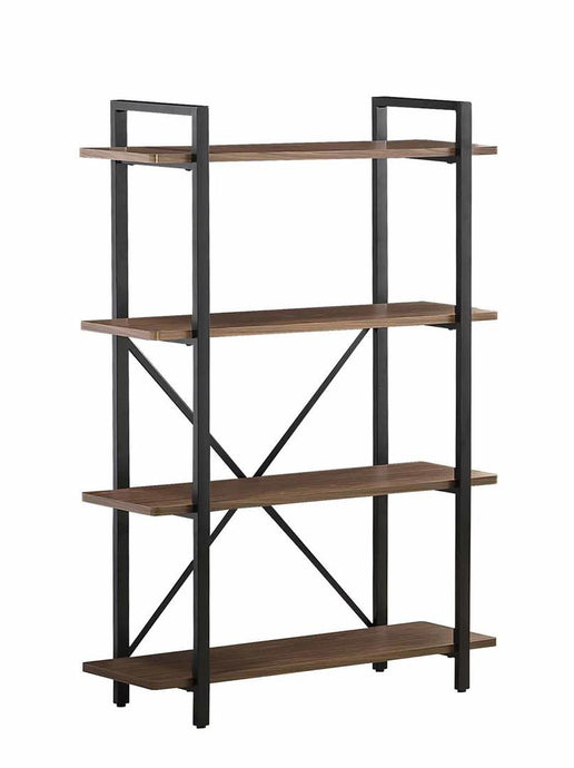 Homy Living Walnut And Black Wood Metal Finish 4 Pier Bookcase