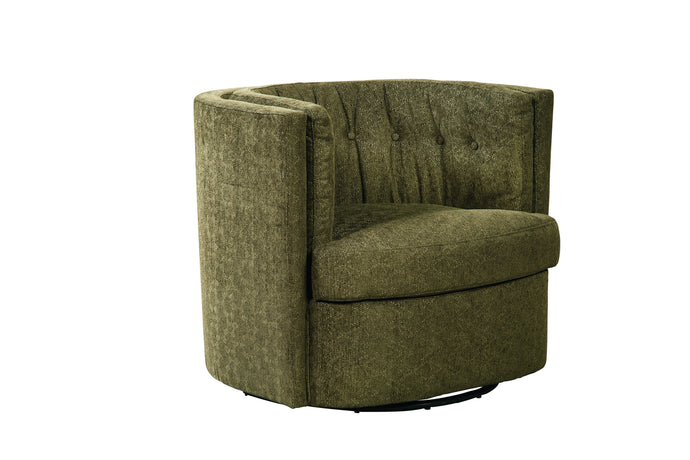 Homy Living Recessed Moss Green Chenille Finish Swivel Chair