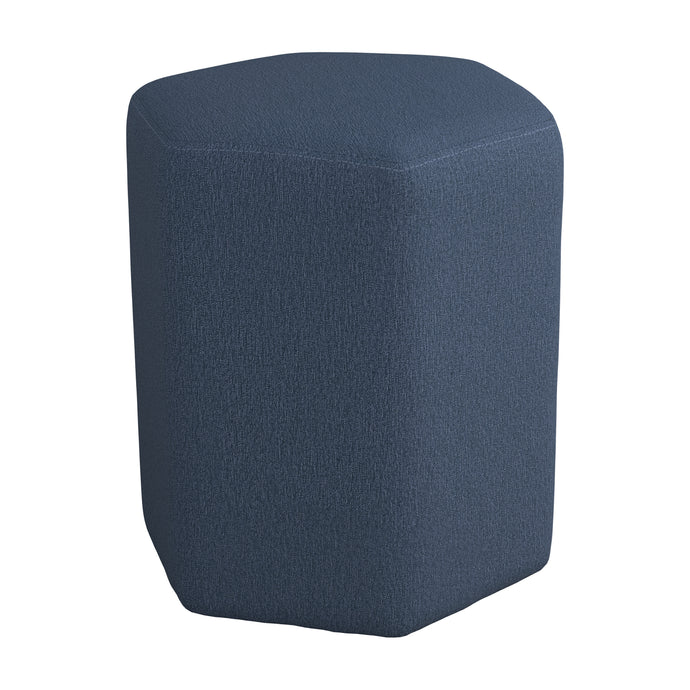 Homy Living Blue Woven And Wood Finish Ottoman