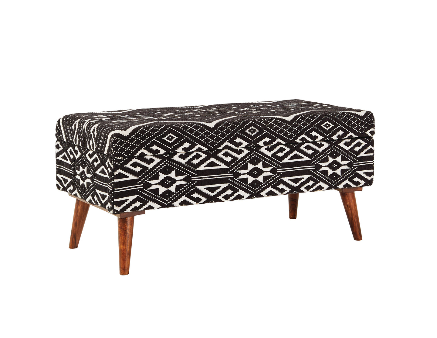 Coaster White And Black Woven Wood Finish Storage Bench