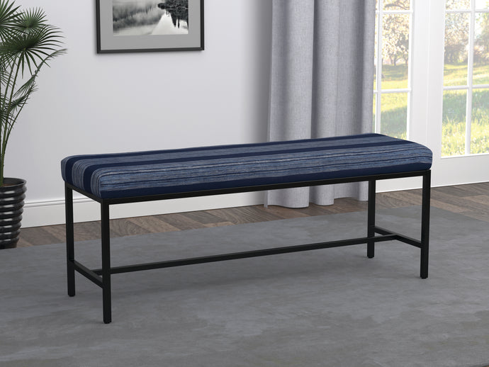 Homy Living Blue And Gunmetal Fabric Metal Finish Bench