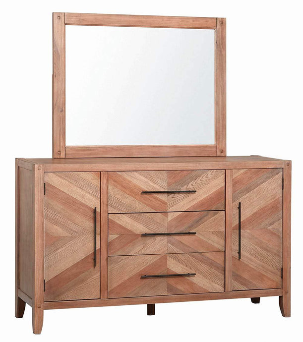 Homy Living Tawny Natural Wood Finish Dresser With Mirror