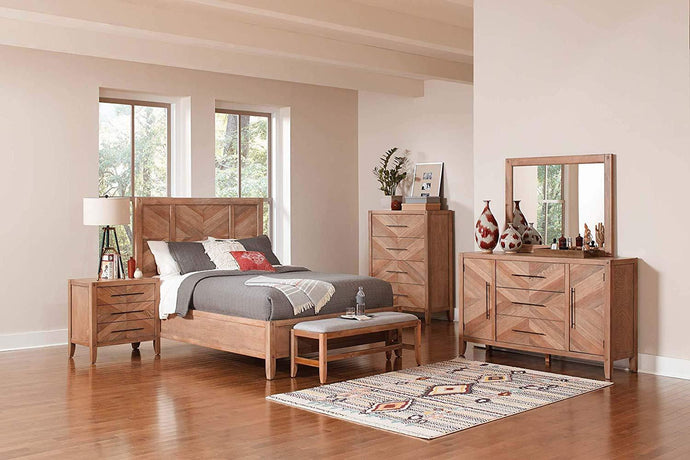 Homy Living Tawny Natural Wood Finish 4 Piece Queen Bedroom Set