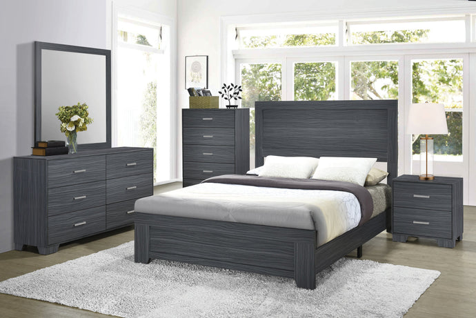 Homy Living Julian Gray And Oak Wood Finish 4 Piece Queen Bedroom Set
