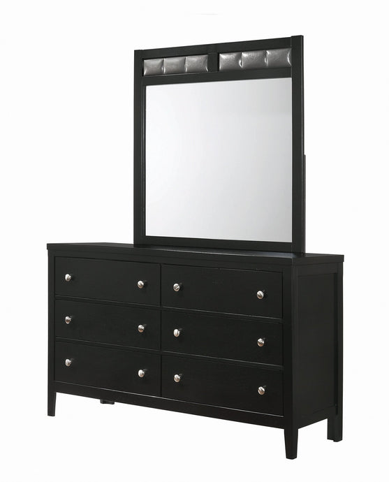Homy Living Carlton Black Wood Finish Dresser With Mirror