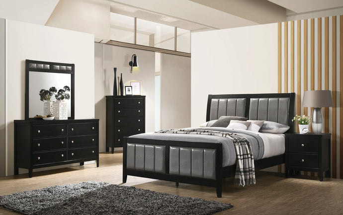 Homy Living Carlton Black Wood And Leather Finish 4 Piece Full Bedroom Set