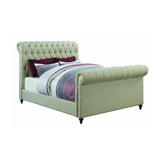 Homy Living Gresham Beige Fabric And Wood Finish Eastern King Bed