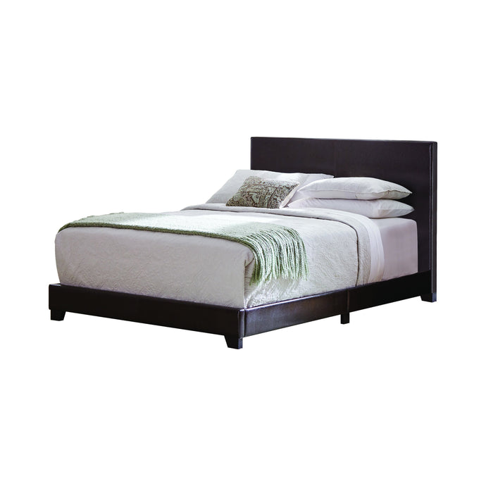 Homy Living Dorian Brown Leather And Wood Finish Queen Bed