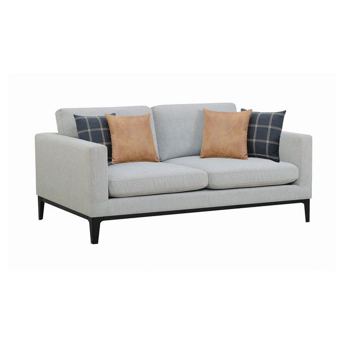 Homy Living Apperson Gray Fabric And Wood Finish Sofa