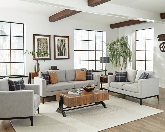Homy Living Apperson Gray Fabric And Wood Finish 3 Piece Sofa Set