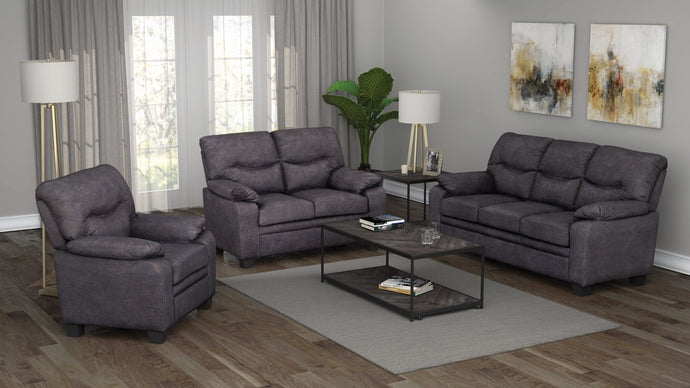 Coaster Megan Charcoal Microfiber Finish 3 Piece Sofa Set
