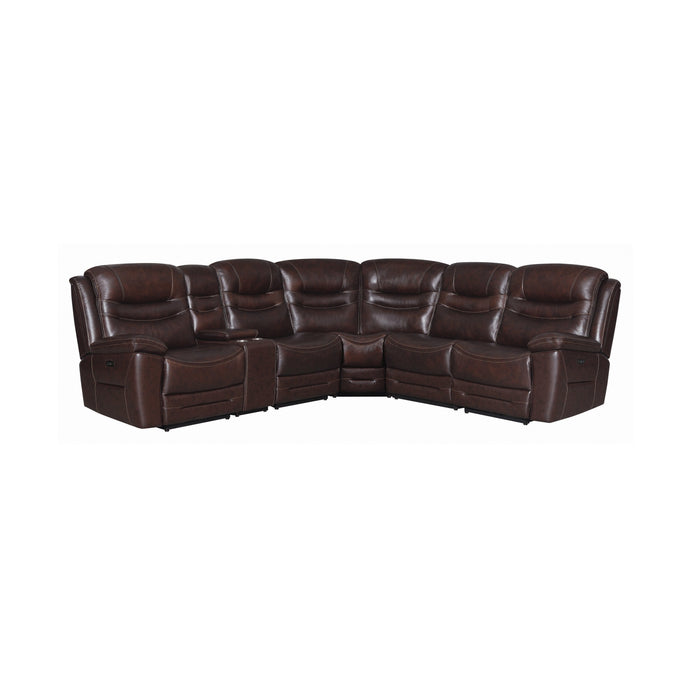 Homy Living Desting Brown Grain Leather Finish Double Power Recliner Sectional Sofa