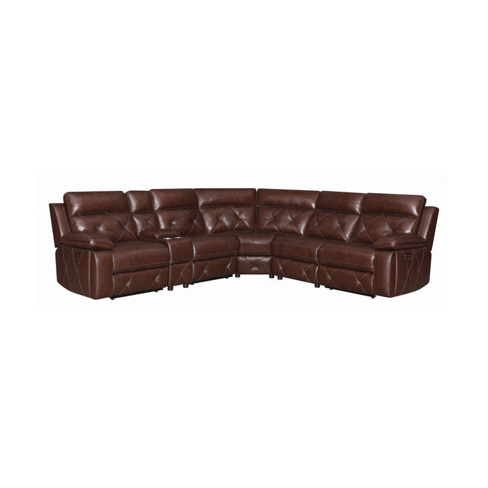Coaster Chester Chocolate Grain Leather Finish Sectional Sofa