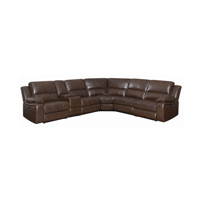 Coaster Channing Brown Beathable Leather Finish Sectional Sofa