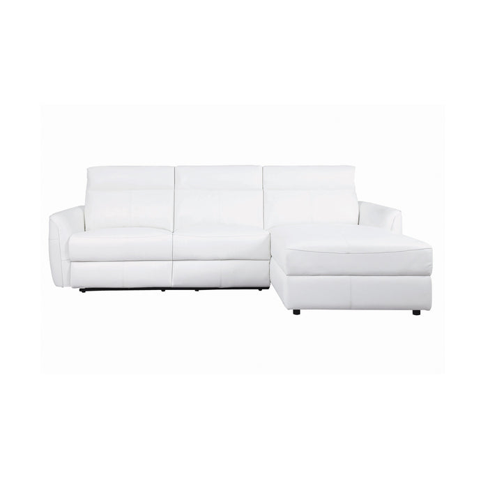 Homy Living Cecelia White Breathable Leather Finish Sectional Sofa