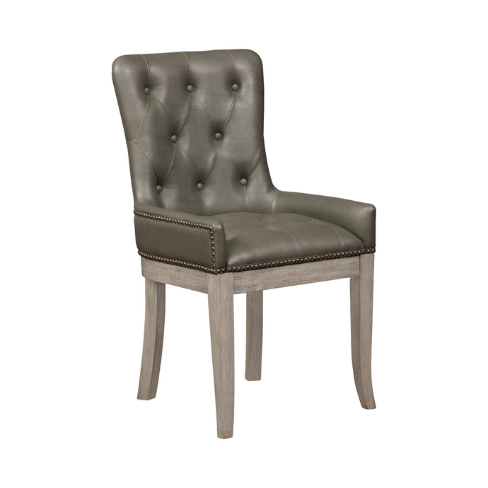 Homy Living Helena Gray Leatherette And Wood Finish 2 Piece Dining Chair