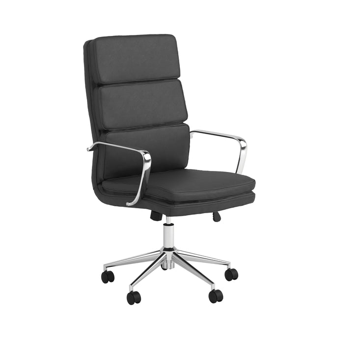 Homy Living Black Leatherette And Chrome Finish Office Chair