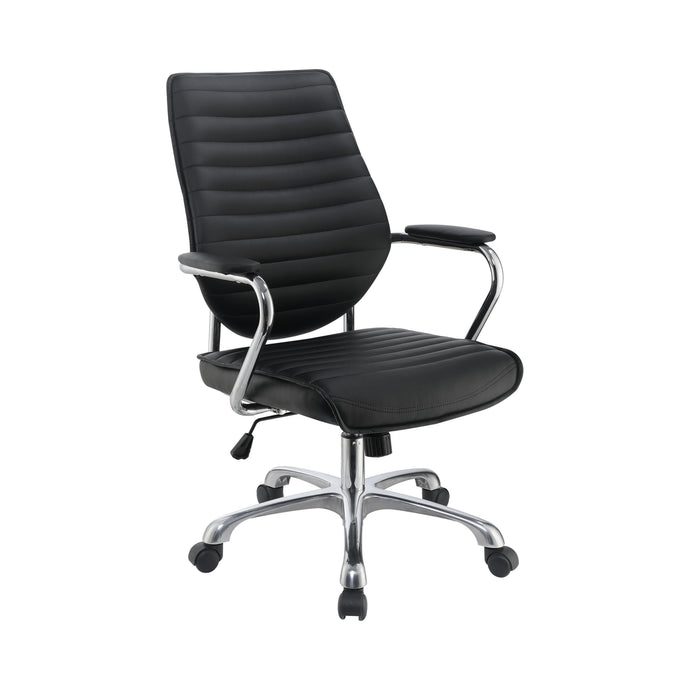 Homy Living Black Chrome And Leatherette Finish Office Chair