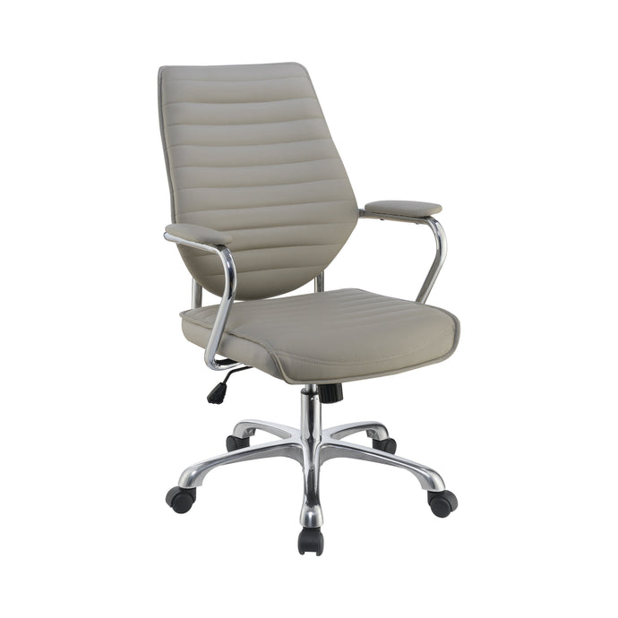 Homy Living Taupe Chrome And Leatherette Finish Office Chair