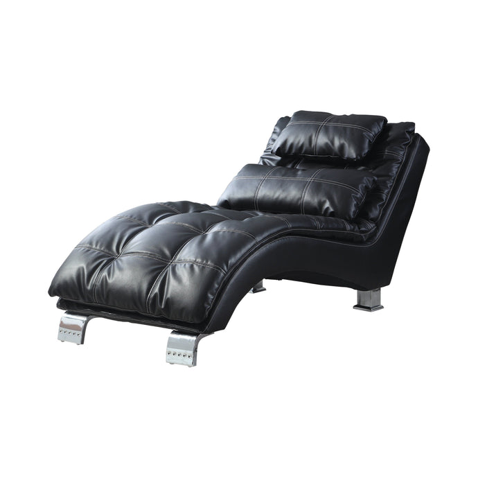 Homy Living Black Leatherette And Chrome Finish Chaise