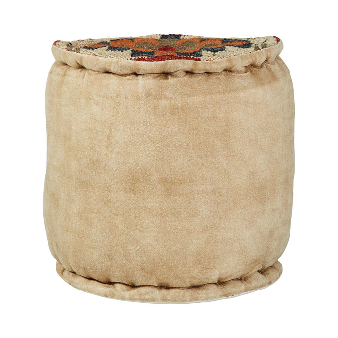 Homy Living Beige Woven Wool Finish Ottoman