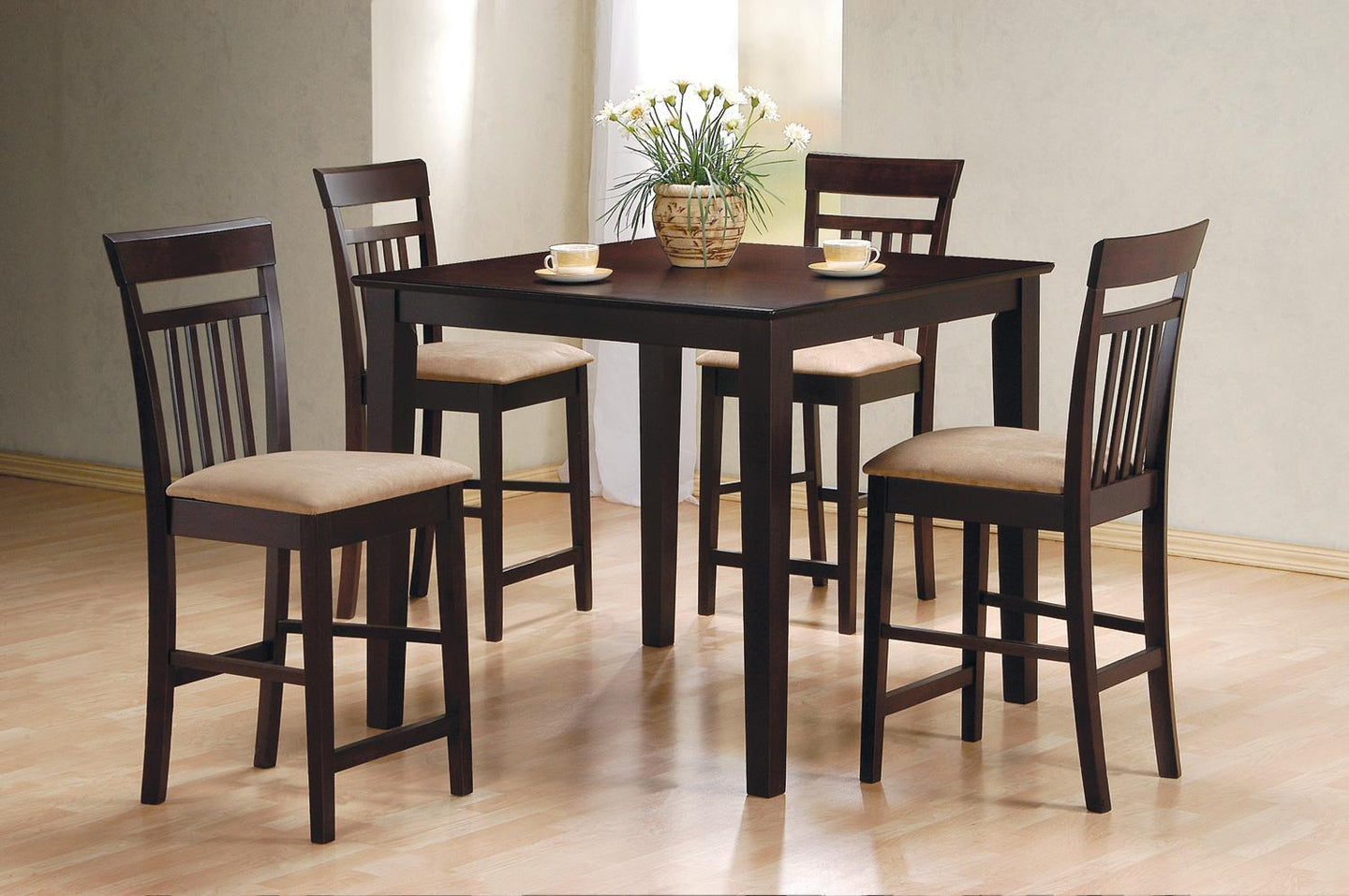 Square Cappuccino Counter Height Dining Table Set