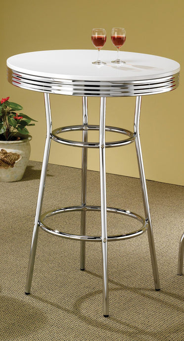 White Round Top Chrome Soda Fountain Bar Table