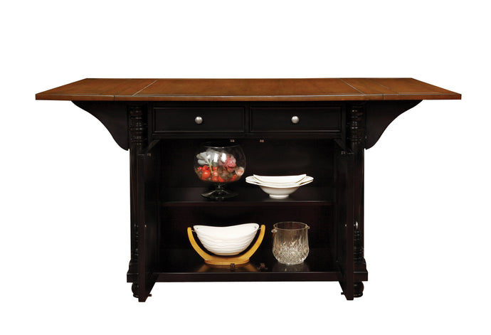 Slater Kitchen Island with Drop Leaves in Black Cherry