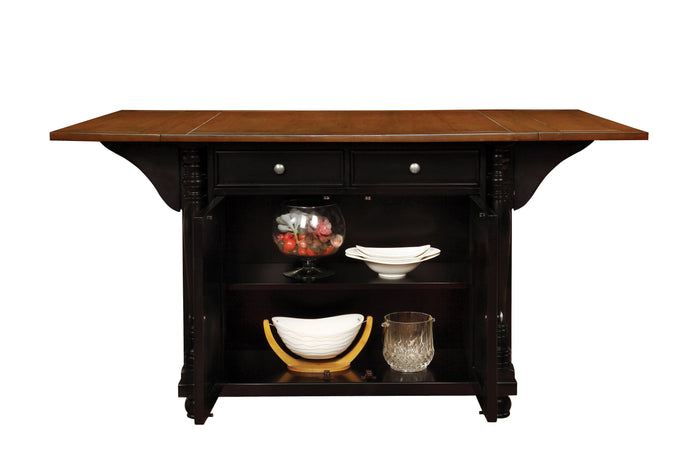 Coaster Slater Kitchen Island with Drop Leaves in Black Cherry